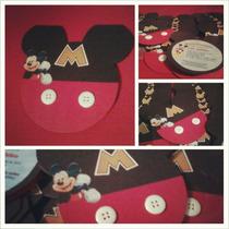 Mickey Mouse - 12 Tarjetas De Invitación Tipo Silueta