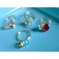 Presiosos Anillos Artesanales Oro Laminado Piedras Cristales