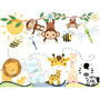 Kit Imprimible Animales Selva Mini Tarjeta Decoracion Fiesta