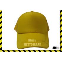 Gorra Amarilla De Malla Unicolor Con Frente De Color
