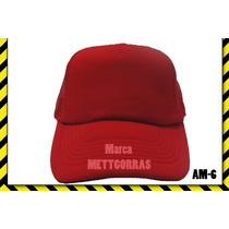 Gorra Roja De Malla Unicolor Con Frente De Color