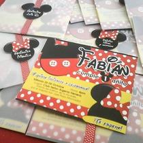 Mickey Y Minnie Mouse-12tarjetas De Invitación Personalizada