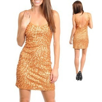 Vestido De Noche En Lentejuelas Color Naranja