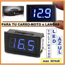 Voltímetro Digital De Panel Lcd Rojo Para Vehículos 0 A 30 V
