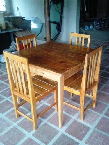 Juego de mesa y sillas para restaurante nuevos listos bs f for Mesas de madera para restaurante