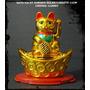 Gato Lucky Dorado Solar/lingote 11cm (prosperidad)