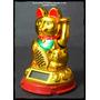Gato Lucky Dorado Solar/ 9 Cm (prosperidad)