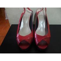 Zapatos Tacones Plataforma De Cuero Rojo Con Negro