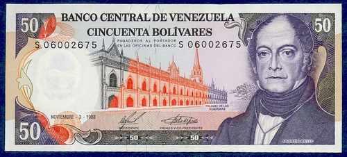 Buen Billete 50 Bolívares De 1988 S8 Serial Bajo 4 Dígitos