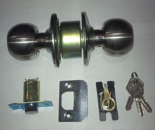 Cerradura pomo cromado para dormitorios con llaves bs f - Pomo con cerradura ...