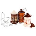Potes Envases Para Cocina Ceramica 3 Piezas + Base Acero