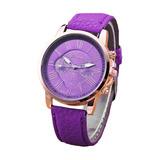 Reloj Geneva Cuero Platinum Dama Pulseras Bisuteria Unisex