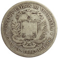 Moneda 5 Bolívares, Fuerte De 1886 - Variante: 2do 8 Bajo