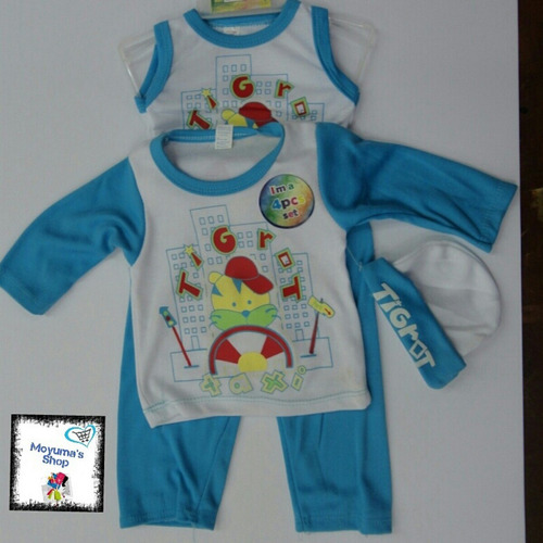 Conjunto para bebes varones mono gorro franela 4 piezas for Piezas para bebes