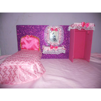 Habitacion Con Cama, Peinadora Y Closet Para Barbie