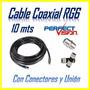 Cable Coaxial Rg6 Directv Inter Supercable Conectores+ Unión