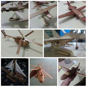 Maqueta Aeromodelismo Escala Avión-helicóptero Madera 30cm