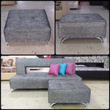 Sofa Cama Decorativo Con Puff Y Cojines Decorativos