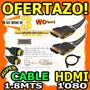 Wow Cable Hdmi 1.8mts Para Tv Ps3 Ps4 Xbox Y Mas 1080p Oro