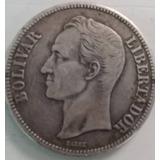 Moneda De 5 Bs. (fuerte De Plata Año 1.929 / 9 Alto).