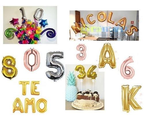 Globos Pack 2 Globos Numero Letra Plateado Dorado Rose 40cm