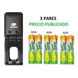 Cargador  + 6 Baterías Pilas  Recargables  Aaa Marca Gp