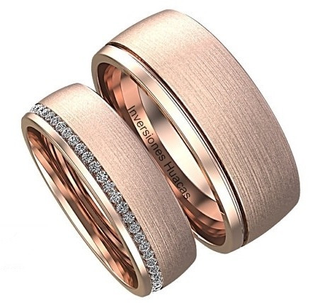 5f53c5e8393ca Par Anillos De Matrimonio Aros De Boda Alianzas Oro Rosa 18k