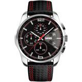 Reloj Caballero Cuero Negro Rojo Skmei Casual Disponible Ya