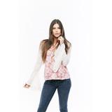 Blusa Rosada Flores Manga Gastada Acampanada Saints Clothes