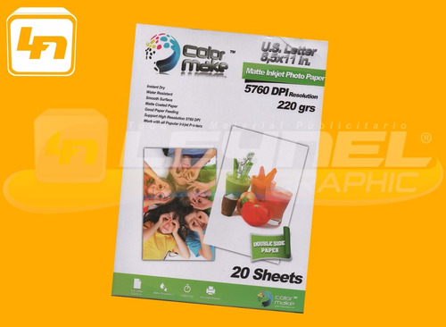 Papel Fotografico Color Make Mate 220gr Doble Cara