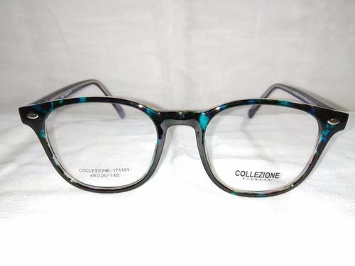 27570febd9 Montura Lentes Collezione Dama Negro Con Azul Traslucido