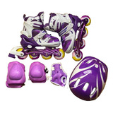 Patines Lineales Ajustables Para Niñas + Kit De Protección