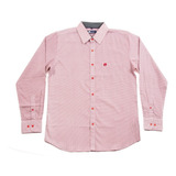 Camisa Caballero Manga Larga De Vestir Color Rosa Hang Ten