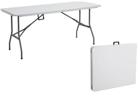 Mesa rectangular plegable plastico duro casa jardin for Mesa plastico jardin