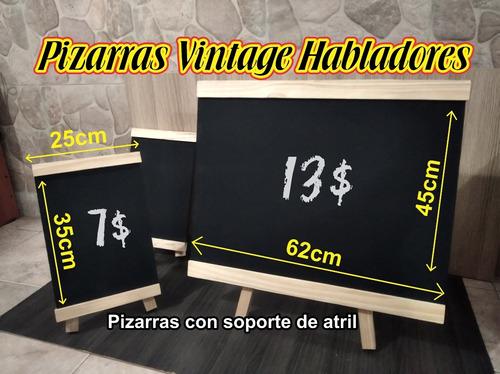 Pizarras Vintage Con Atril De Pino Pizarrones