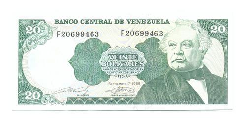 Billete De 20 Bolívares Septiembre 7 De 1989 Serial F8  Au