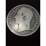 Moneda De Plata Fuerte (un Venezolano) Año 1876 Leer Descrip