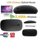 Mouse Inalámbrico Óptico Ultra-delgado Usb, 2,4ghz, 1600 Dpi
