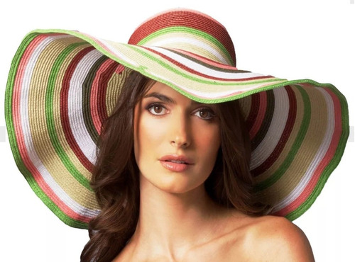 Sombrero Playero Mujer Accesorios Playa Piscina 9e1babfc908