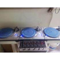 Platos Mk2 1200 Technics Con Mezclador Y Lote De Discos