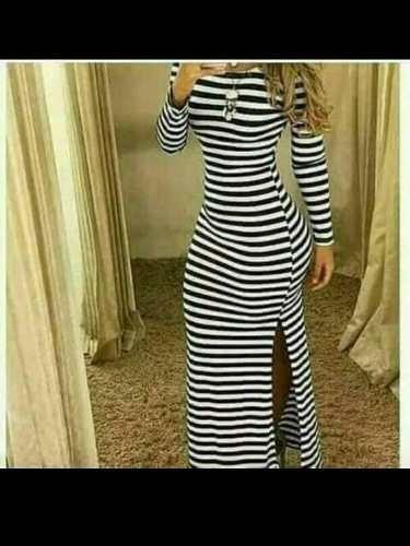 860f74070a Vestidos Largos Casuales Para Damas De Rayas