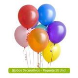 Globos Decorativos - Paquete 50 Und - Variedad De Colores