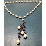 e689cc801fd1 Collar De Perlas Con Plata Ley 925 Con Amatistas Naturales