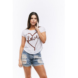 Franela Holgada Blanca Corazon Love  Saints Clothes