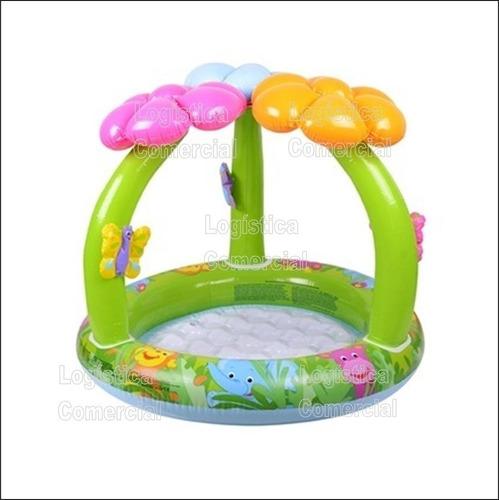 Piscina inflable florecita con parasol techo para bebe for Piscina inflable intex para bebe