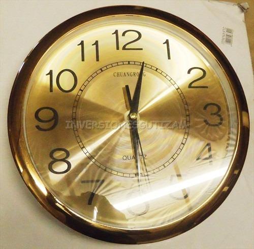 Reloj de pared dorado grande de 30cm de diametro elegante - Reloj grande de pared ...