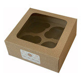 Doce (12) Cajas Carton Marron 4 Cupcake Ponquesito