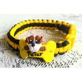 Mascota Collar Perros Tejido Con Dije Personalizado Ss