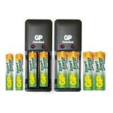Cargadores Gp Smart Con 4aa Y 4aaa 1000/400mah Recargables