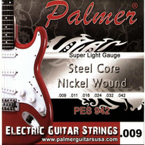 Set De Cuerdas Para Guitarra Eléctrica Palmer 09 Super Light